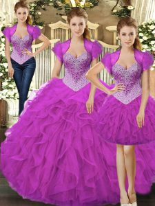 Comfortable Tulle Sleeveless Floor Length 15 Quinceanera Dress and Beading and Ruffles