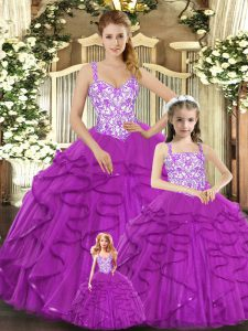 Custom Design Floor Length Lace Up Sweet 16 Quinceanera Dress Fuchsia for Military Ball and Sweet 16 and Quinceanera with Beading and Ruffles