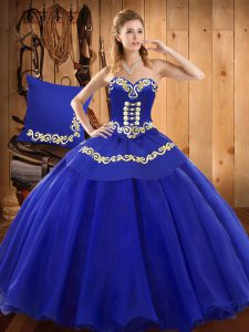 Modest Sleeveless Floor Length Ruffles Lace Up Ball Gown Prom Dress with Blue