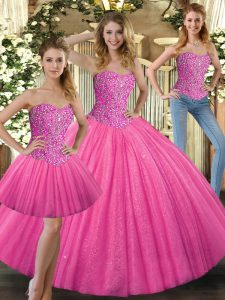 Hot Pink Sleeveless Tulle Lace Up 15th Birthday Dress for Military Ball and Sweet 16 and Quinceanera