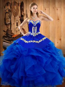Satin and Organza Sweetheart Sleeveless Lace Up Embroidery and Ruffles 15 Quinceanera Dress in Royal Blue