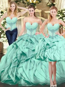 Sleeveless Floor Length Beading and Ruffles Lace Up Ball Gown Prom Dress with Apple Green