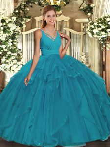 V-neck Sleeveless Quince Ball Gowns Floor Length Beading Teal Tulle