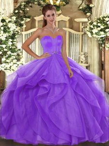 Captivating Floor Length Lavender Sweet 16 Quinceanera Dress Tulle Sleeveless Beading and Ruffles