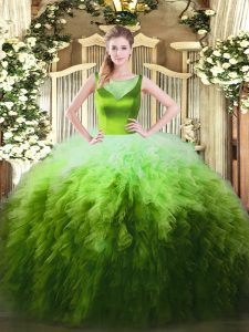 Multi-color Scoop Neckline Beading and Ruffles Ball Gown Prom Dress Sleeveless Zipper