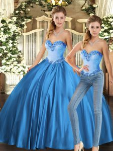 Romantic Baby Blue Two Pieces Sweetheart Sleeveless Tulle Floor Length Lace Up Beading Quinceanera Dress