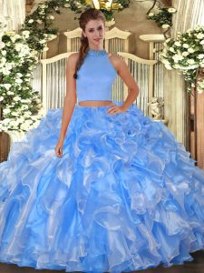 Stunning Halter Top Sleeveless Backless Sweet 16 Quinceanera Dress Baby Blue Organza
