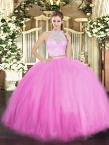Delicate Rose Pink Sleeveless Floor Length Lace Zipper 15th Birthday Dress