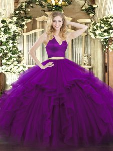 Edgy Halter Top Sleeveless Zipper Sweet 16 Dresses Purple Organza