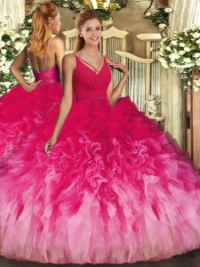 Multi-color Ball Gowns Tulle V-neck Sleeveless Beading and Ruffles Floor Length Backless Quince Ball Gowns