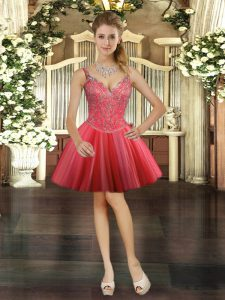 Custom Made Coral Red Ball Gowns V-neck Sleeveless Tulle Mini Length Lace Up Beading Prom Dresses