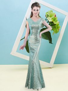 Discount Teal Sequined Zipper Prom Dress Cap Sleeves Floor Length Sequins