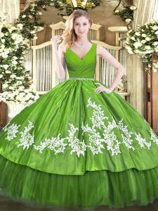 High Quality Olive Green 15th Birthday Dress Military Ball and Sweet 16 and Quinceanera with Beading and Appliques V-neck Sleeveless Zipper