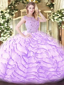 Exquisite Lavender Vestidos de Quinceanera Tulle Sweep Train Sleeveless Beading and Ruffled Layers