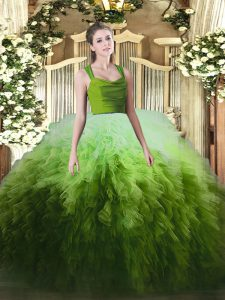 Multi-color Ball Gowns Tulle Straps Sleeveless Ruffles Floor Length Zipper Quinceanera Gown