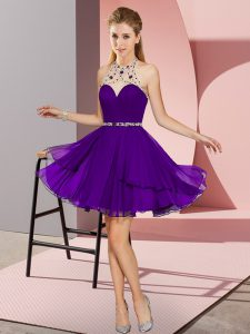 Flirting Purple Halter Top Neckline Beading Prom Evening Gown Sleeveless Zipper