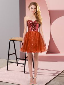 Extravagant Mini Length A-line Sleeveless Red Dress for Prom Zipper
