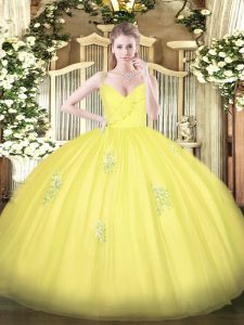 Custom Designed Yellow Tulle Zipper Quinceanera Dresses Sleeveless Floor Length Appliques