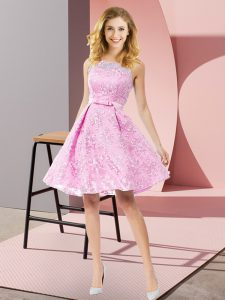 Rose Pink Sleeveless Lace Zipper Bridesmaid Dress for Prom and Party and Wedding Party