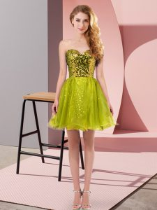 Mini Length Zipper Prom Gown Olive Green for Prom and Party with Sequins