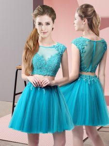 Sumptuous Baby Blue Two Pieces Tulle Scoop Sleeveless Appliques Mini Length Zipper
