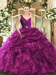 Floor Length Fuchsia Sweet 16 Dresses Organza Sleeveless Beading and Ruffles