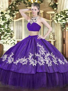Purple Sleeveless Beading and Appliques Floor Length Ball Gown Prom Dress