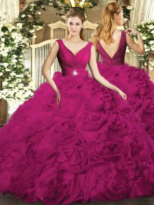 Discount Fuchsia Ball Gowns V-neck Sleeveless Fabric With Rolling Flowers Floor Length Backless Beading Quinceanera Dress