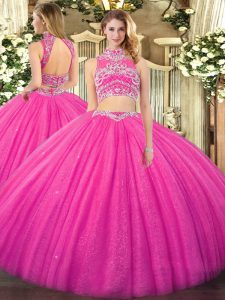 Tulle High-neck Sleeveless Backless Beading 15 Quinceanera Dress in Hot Pink