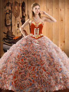 With Train Multi-color Quinceanera Dresses Sweetheart Sleeveless Sweep Train Lace Up