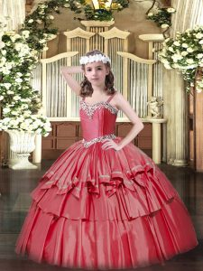 Cute Sleeveless Organza and Taffeta Floor Length Lace Up Pageant Dress for Girls in Coral Red with Beading and Ruffled Layers