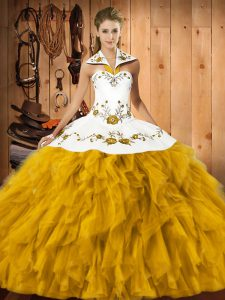 Floor Length Ball Gowns Sleeveless Gold 15th Birthday Dress Lace Up