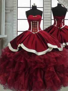 Lovely Red Organza Lace Up Sweet 16 Quinceanera Dress Sleeveless Floor Length Beading and Ruffles