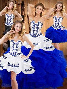 Ball Gowns Quinceanera Gowns Blue Strapless Satin and Organza Sleeveless Floor Length Lace Up