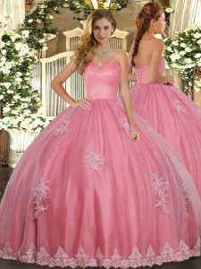 Pretty Floor Length Watermelon Red Quinceanera Dress Tulle Sleeveless Beading and Appliques