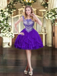 Shining Mini Length Zipper Homecoming Dress Purple for Prom and Party with Beading and Ruffles