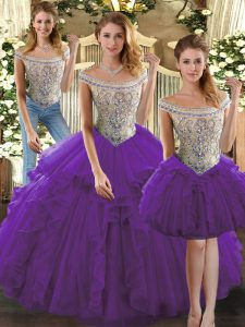 Luxurious Purple Sleeveless Beading and Ruffles Floor Length Quinceanera Dresses