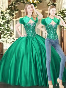 Sleeveless Floor Length Beading Lace Up 15 Quinceanera Dress with Green