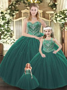 Pretty Dark Green Tulle Lace Up Sweetheart Sleeveless Floor Length Sweet 16 Quinceanera Dress Beading
