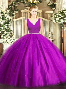 Dramatic Purple Zipper Sweet 16 Quinceanera Dress Beading Sleeveless Floor Length