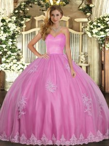 Clearance Rose Pink Lace Up Sweetheart Beading and Appliques Ball Gown Prom Dress Tulle Sleeveless