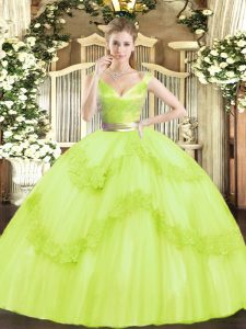 New Arrival Tulle Sleeveless Floor Length 15th Birthday Dress and Beading and Appliques