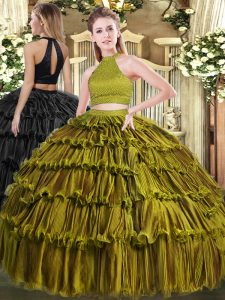 Olive Green Organza Backless Halter Top Sleeveless Floor Length Sweet 16 Dress Beading and Ruffled Layers
