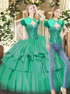 Floor Length Turquoise 15th Birthday Dress Sweetheart Sleeveless Lace Up