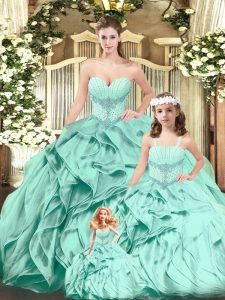 Aqua Blue Sleeveless Beading and Ruffles Floor Length Quinceanera Gowns