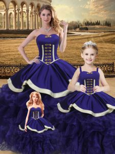 Customized Sweetheart Sleeveless Quince Ball Gowns Floor Length Beading and Ruffles Purple Satin and Organza