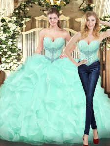 Beautiful Sleeveless Organza Floor Length Lace Up 15th Birthday Dress in Apple Green with Beading and Ruffles