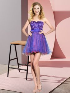 Sweetheart Sleeveless Tulle Bridesmaids Dress Beading and Sequins Lace Up
