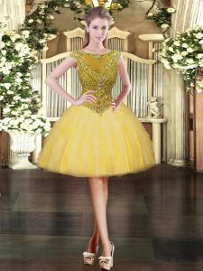 Extravagant Gold Zipper Homecoming Dress Beading and Ruffles Cap Sleeves Mini Length