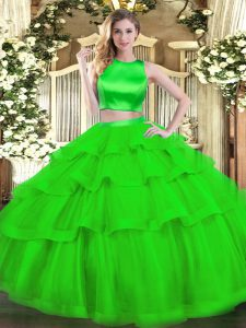 High-neck Sleeveless Tulle Quince Ball Gowns Ruffled Layers Criss Cross